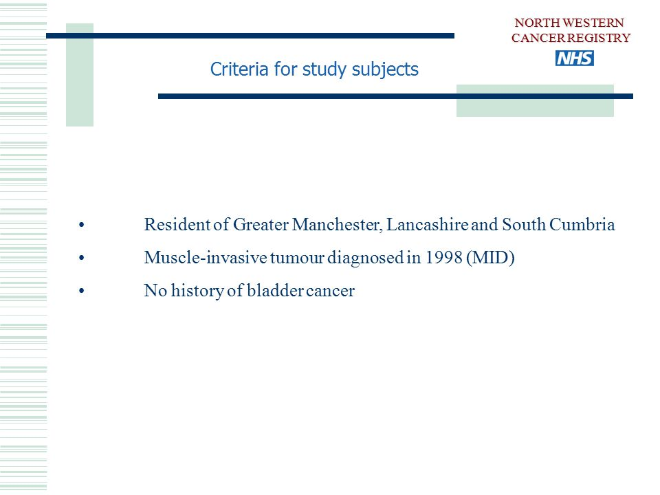 Resident of Greater Manchester, Lancashire and South Cumbria Muscle-invasive tumour diagnosed in 1998 (MID) No history of bladder cancer Criteria for study subjects NORTH WESTERN CANCER REGISTRY