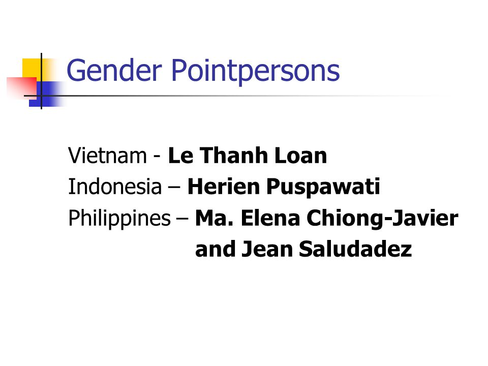 Gender Pointpersons Vietnam - Le Thanh Loan Indonesia – Herien Puspawati Philippines – Ma.