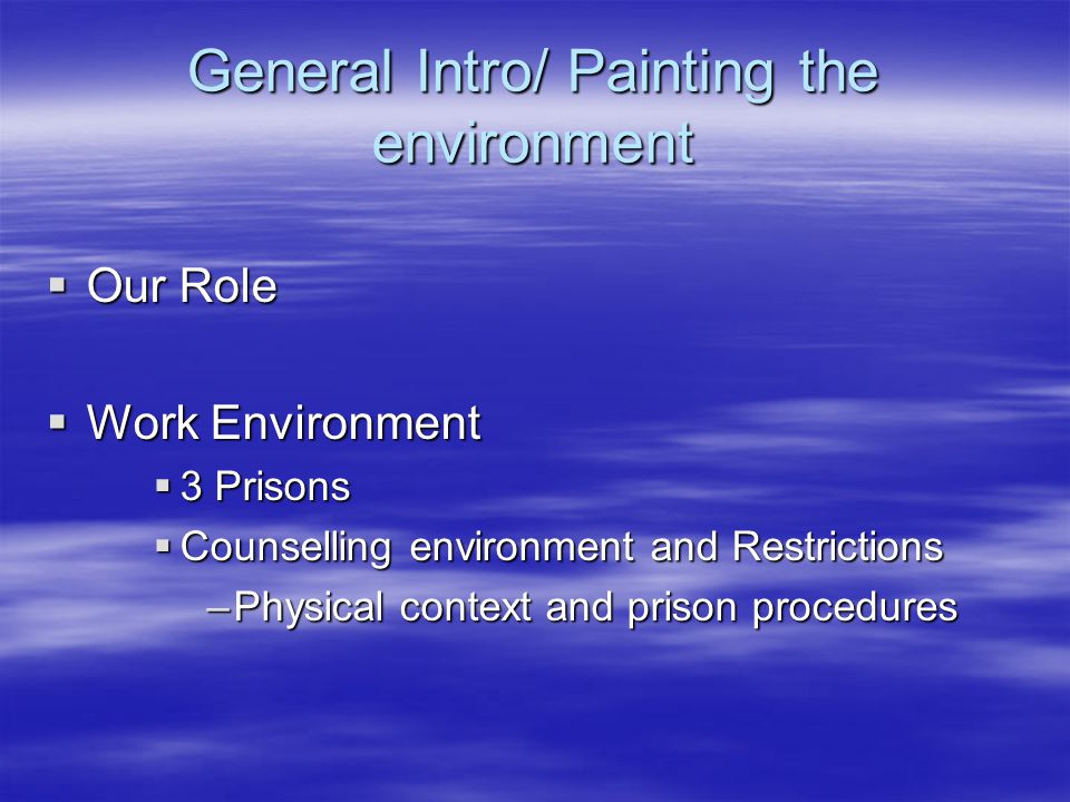 General Intro/ Painting the environment  Our Role  Work Environment  3 Prisons  Counselling environment and Restrictions –Physical context and prison procedures