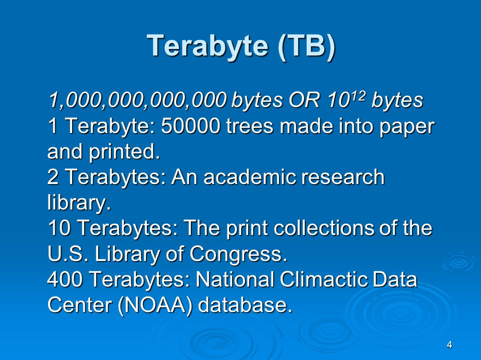 4 Terabyte (TB) 1,000,000,000,000 bytes OR 10 12 bytes 1 Terabyte: 50000 trees made into paper and printed.