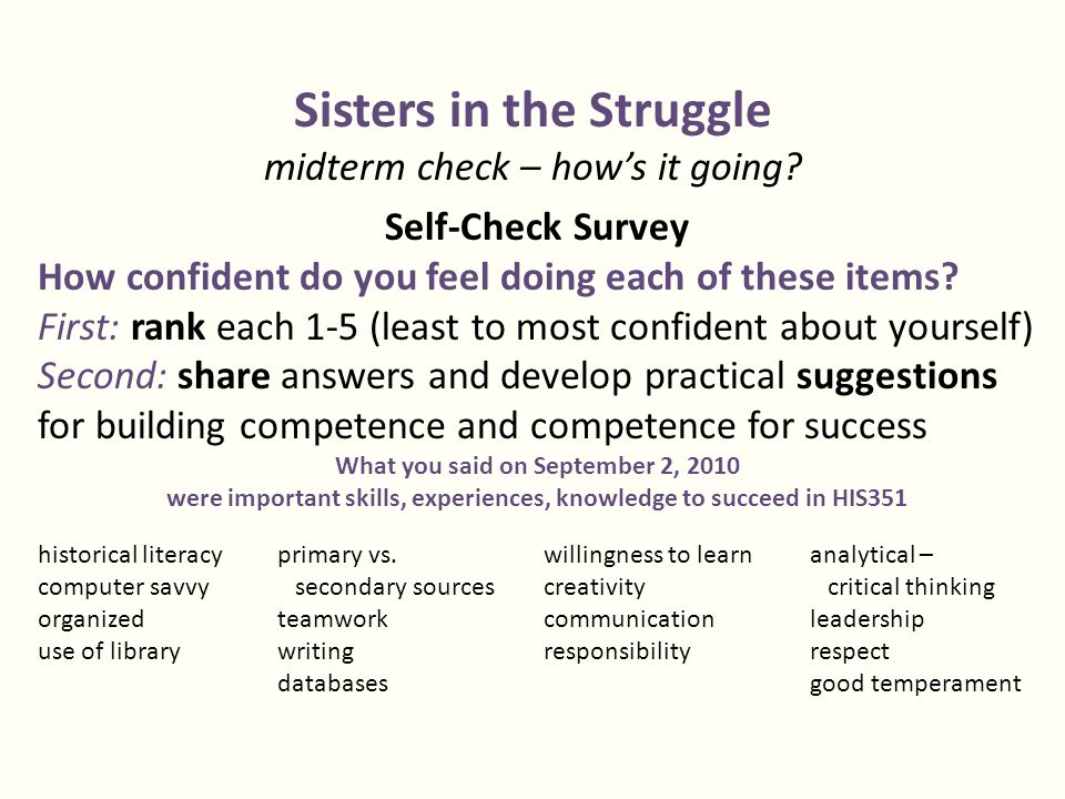 Sisters in the Struggle midterm check – how's it going.