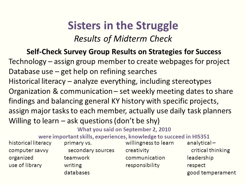 Sisters in the Struggle Results of Midterm Check Self-Check Survey Group Results on Strategies for Success Technology – assign group member to create webpages for project Database use – get help on refining searches Historical literacy – analyze everything, including stereotypes Organization & communication – set weekly meeting dates to share findings and balancing general KY history with specific projects, assign major tasks to each member, actually use daily task planners Willing to learn – ask questions (don't be shy) What you said on September 2, 2010 were important skills, experiences, knowledge to succeed in HIS351 historical literacy computer savvy organized use of library primary vs.