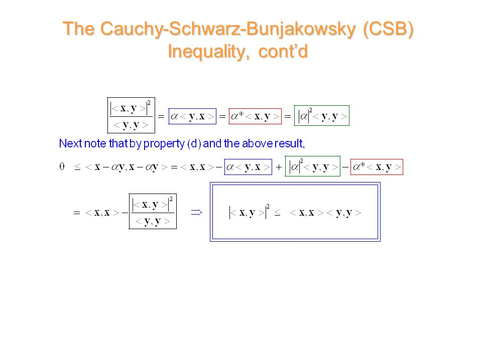 The Cauchy-Schwarz-Bunjakowsky (CSB) Inequality, cont'd