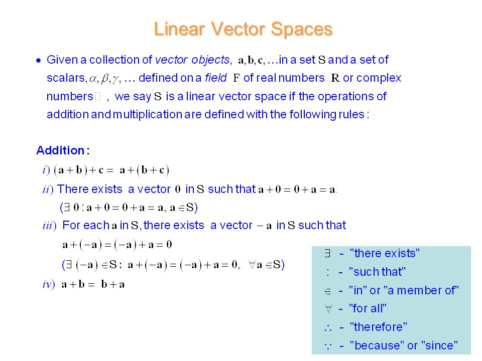 Linear Vector Spaces