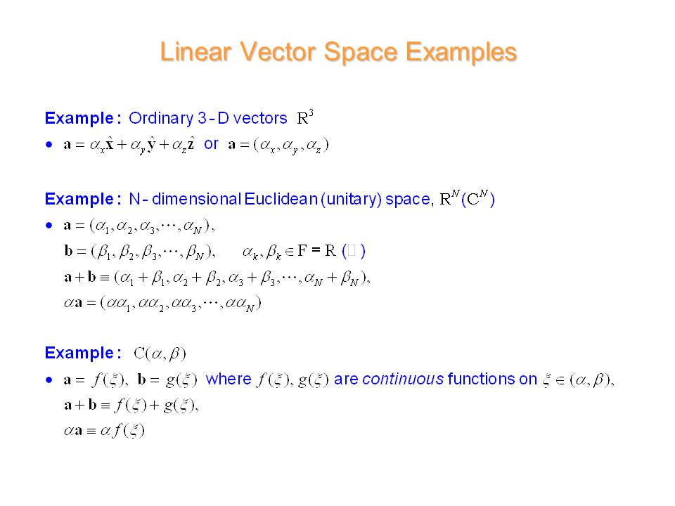 Linear Vector Space Examples