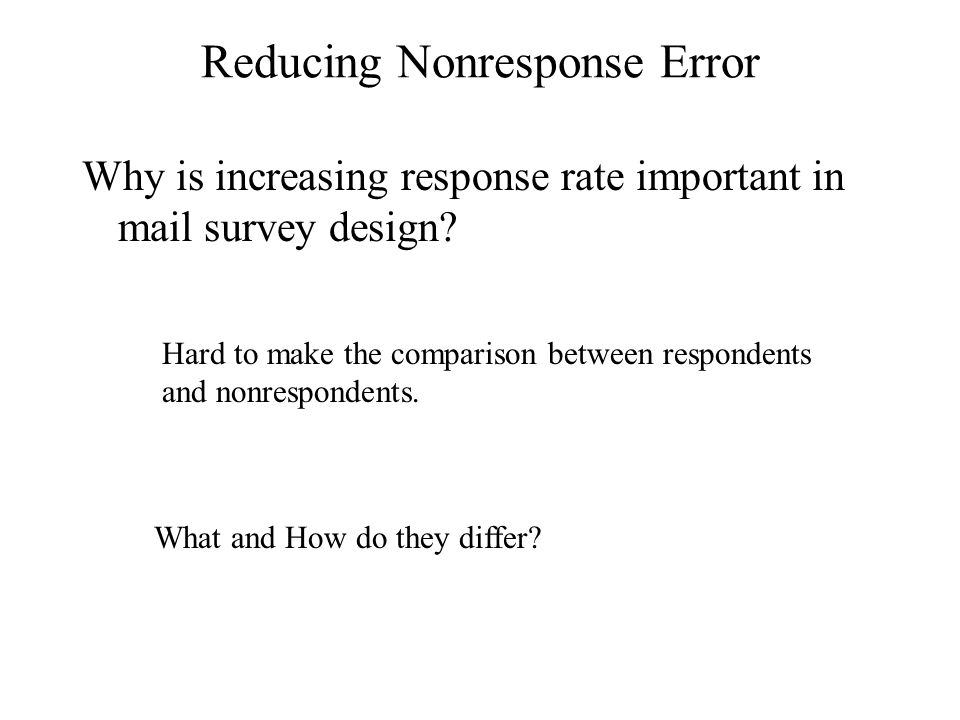 Reducing Nonresponse Error Why is increasing response rate important in mail survey design.