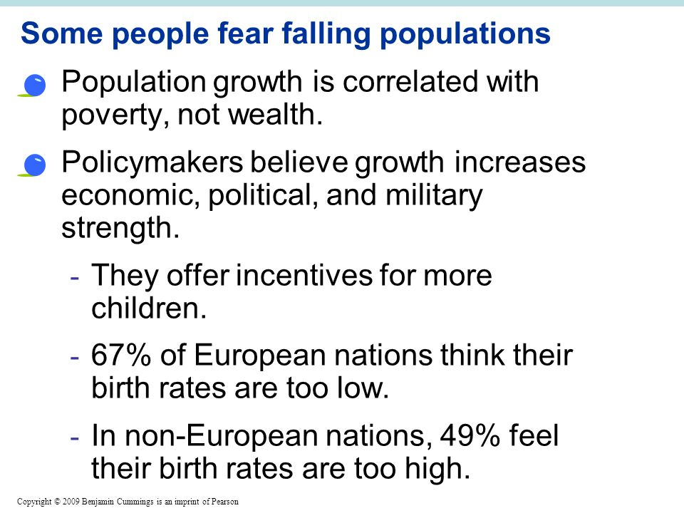 Copyright © 2009 Benjamin Cummings is an imprint of Pearson Some people fear falling populations Population growth is correlated with poverty, not wealth.