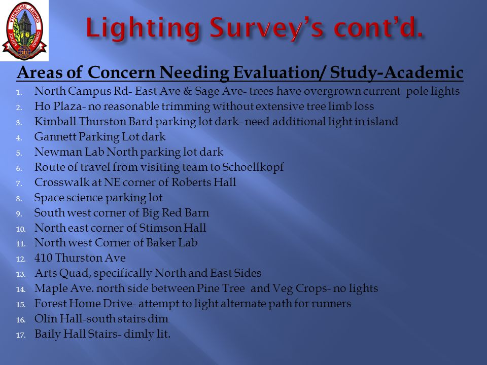 Areas of Concern Needing Evaluation/ Study-Academic 1.