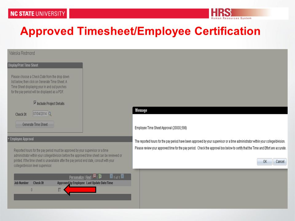 Approved Timesheet/Employee Certification