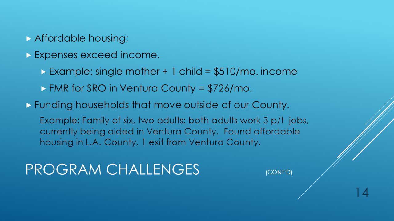 PROGRAM CHALLENGES (CONT'D)  Affordable housing;  Expenses exceed income.