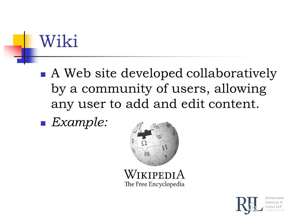 Wiki A Web site developed collaboratively by a community of users, allowing any user to add and edit content.
