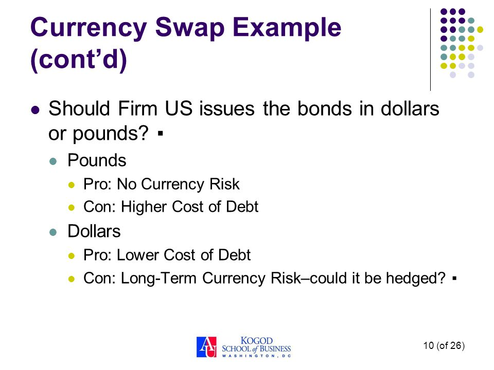 Currency Swap Example (cont'd) Should Firm US issues the bonds in dollars or pounds.