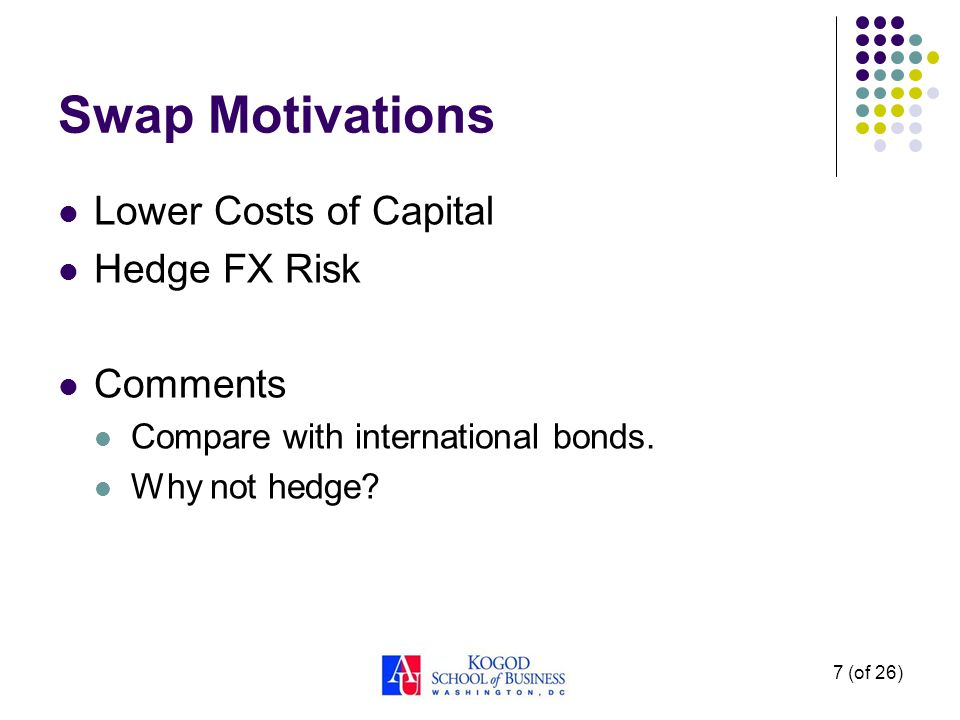 Swap Motivations Lower Costs of Capital Hedge FX Risk Comments Compare with international bonds.