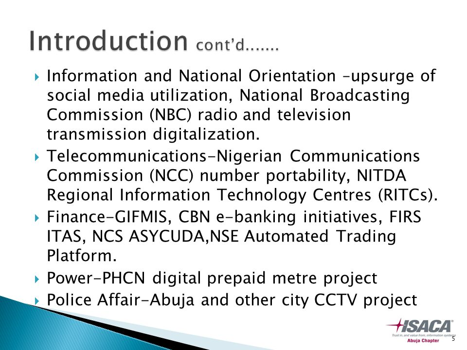  Information and National Orientation –upsurge of social media utilization, National Broadcasting Commission (NBC) radio and television transmission digitalization.