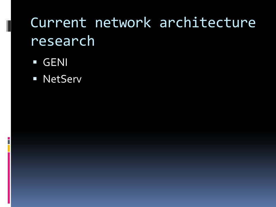 Current network architecture research  GENI  NetServ