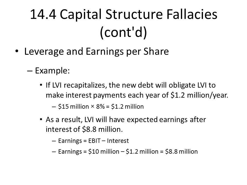 14.4 Capital Structure Fallacies (cont d) Leverage and Earnings per Share – Example: If LVI recapitalizes, the new debt will obligate LVI to make interest payments each year of $1.2 million/year.