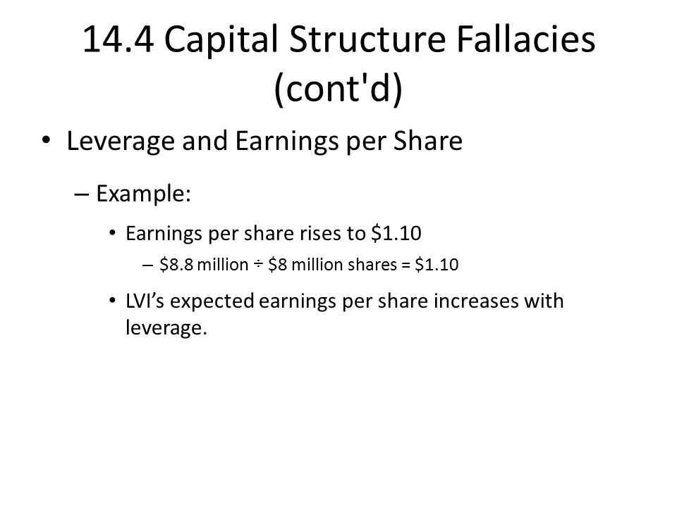 14.4 Capital Structure Fallacies (cont d) Leverage and Earnings per Share – Example: Earnings per share rises to $1.10 – $8.8 million ÷ $8 million shares = $1.10 LVI's expected earnings per share increases with leverage.