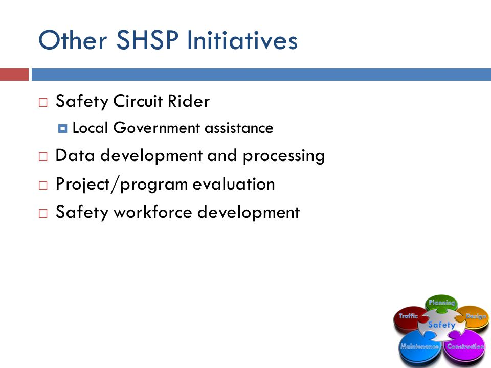 Other SHSP Initiatives  Safety Circuit Rider  Local Government assistance  Data development and processing  Project/program evaluation  Safety workforce development
