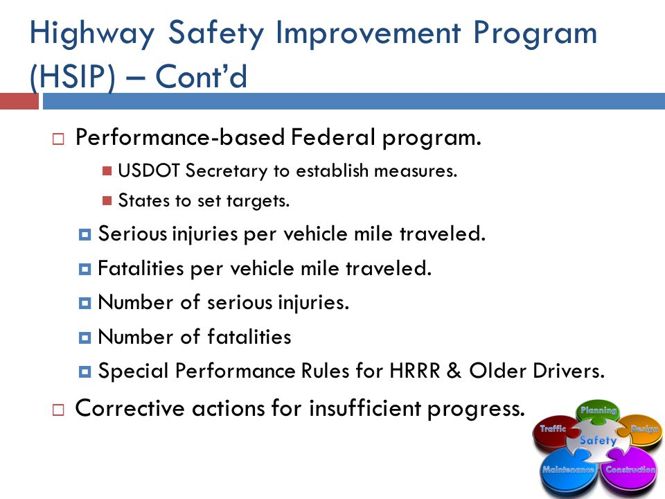 Highway Safety Improvement Program (HSIP) – Cont'd  Performance-based Federal program.