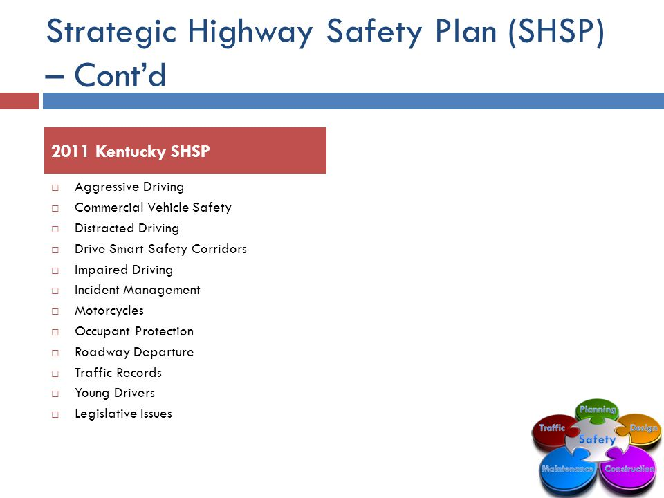 Strategic Highway Safety Plan (SHSP) – Cont'd  Aggressive Driving  Commercial Vehicle Safety  Distracted Driving  Drive Smart Safety Corridors  Impaired Driving  Incident Management  Motorcycles  Occupant Protection  Roadway Departure  Traffic Records  Young Drivers  Legislative Issues 2011 Kentucky SHSP