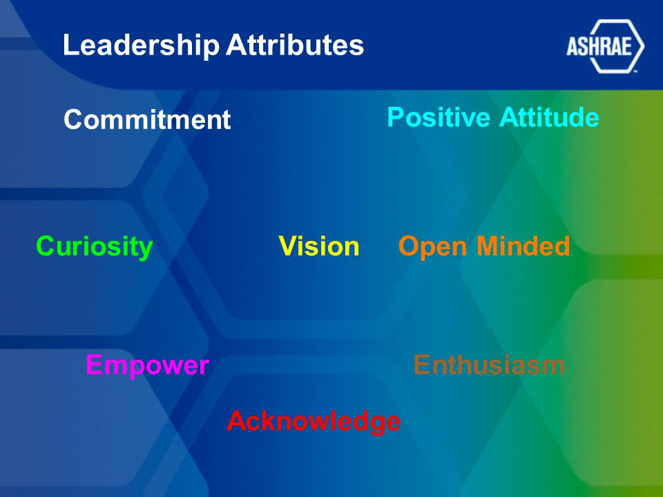 Leadership Attributes Commitment CuriosityOpen Minded Positive Attitude Vision EnthusiasmEmpower Acknowledge