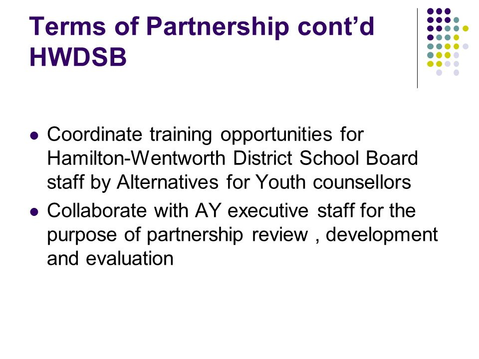 Terms of Partnership cont'd HWDSB Coordinate training opportunities for Hamilton-Wentworth District School Board staff by Alternatives for Youth counsellors Collaborate with AY executive staff for the purpose of partnership review, development and evaluation