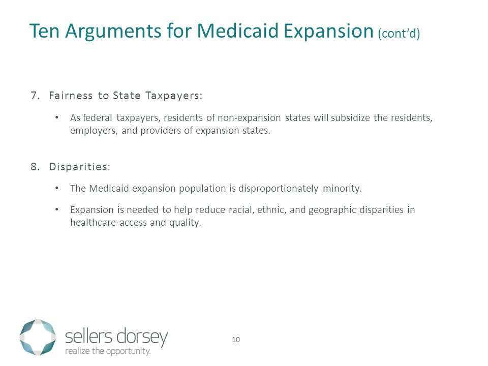 Ten Arguments for Medicaid Expansion (cont'd) 7.Fairness to State Taxpayers: As federal taxpayers, residents of non-expansion states will subsidize the residents, employers, and providers of expansion states.