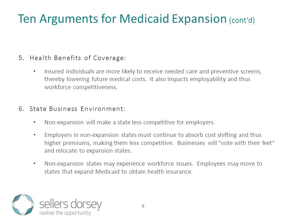 9 Ten Arguments for Medicaid Expansion (cont'd) 5.Health Benefits of Coverage: Insured individuals are more likely to receive needed care and preventive screens, thereby lowering future medical costs.
