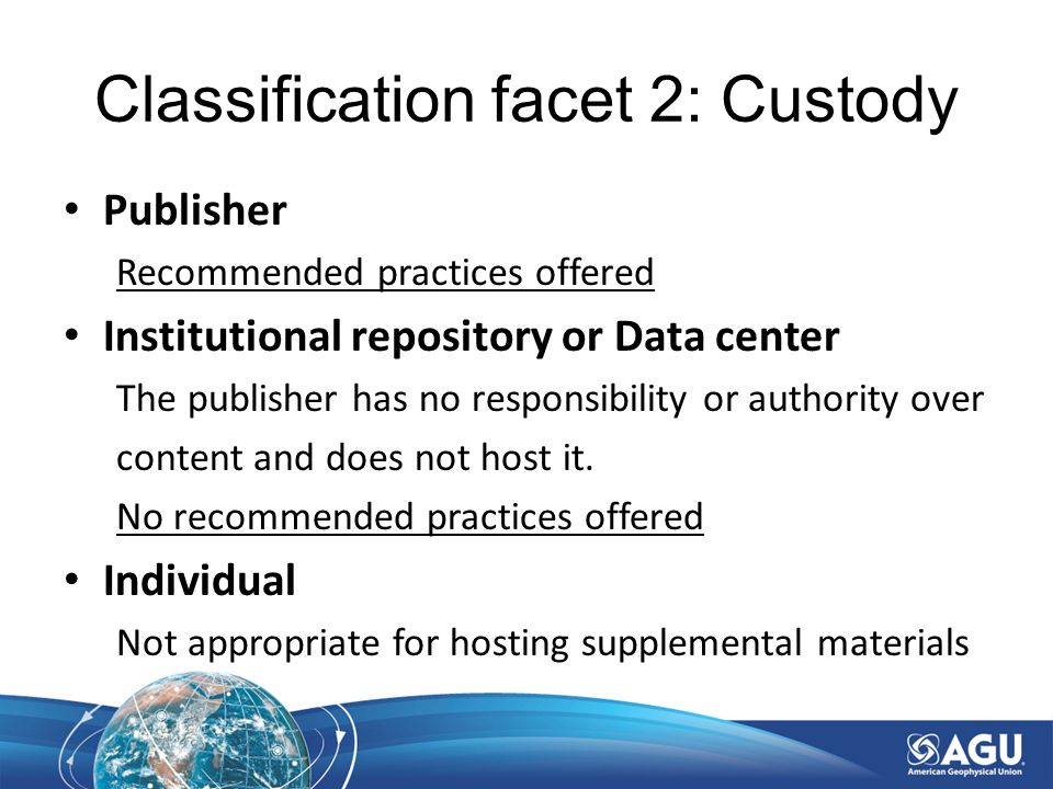 Classification facet 2: Custody Publisher Recommended practices offered Institutional repository or Data center The publisher has no responsibility or authority over content and does not host it.