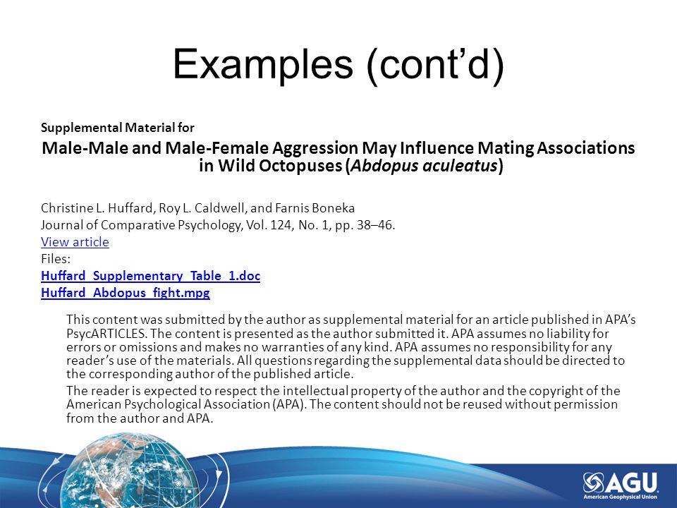 Supplemental Material for Male-Male and Male-Female Aggression May Influence Mating Associations in Wild Octopuses (Abdopus aculeatus) Christine L.