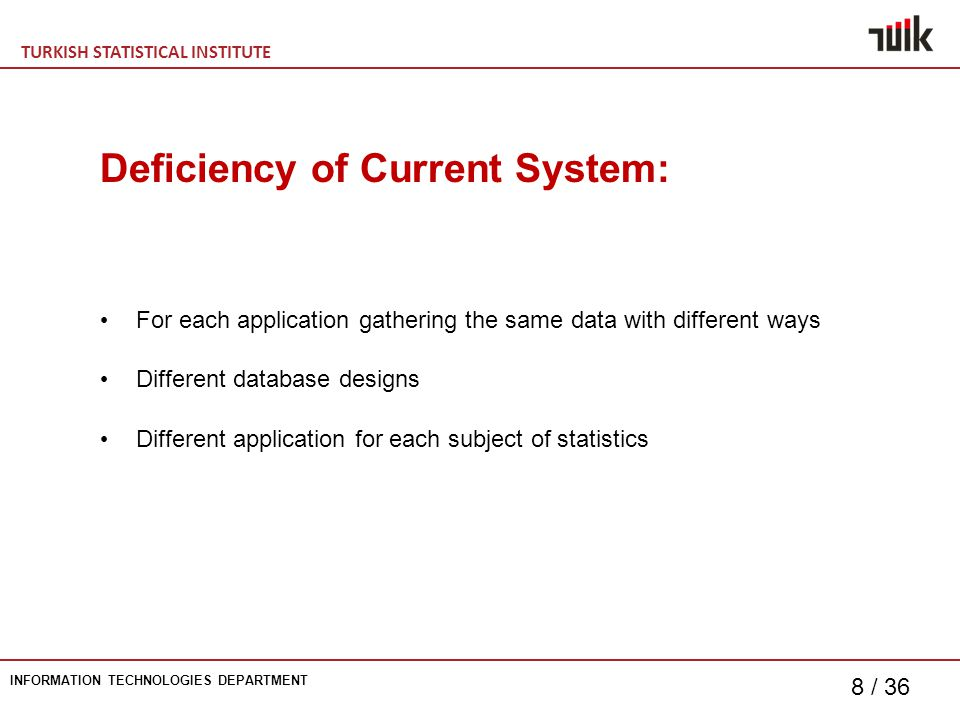 TURKISH STATISTICAL INSTITUTE INFORMATION TECHNOLOGIES DEPARTMENT 8 / 36 For each application gathering the same data with different ways Different database designs Different application for each subject of statistics Deficiency of Current System: