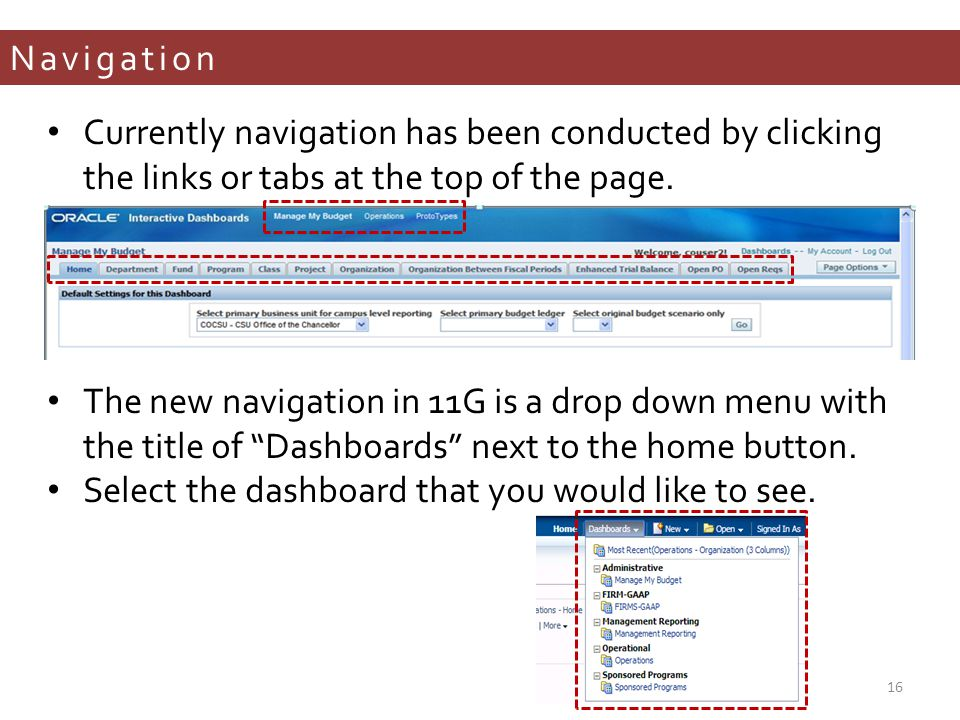 Navigation Currently navigation has been conducted by clicking the links or tabs at the top of the page.