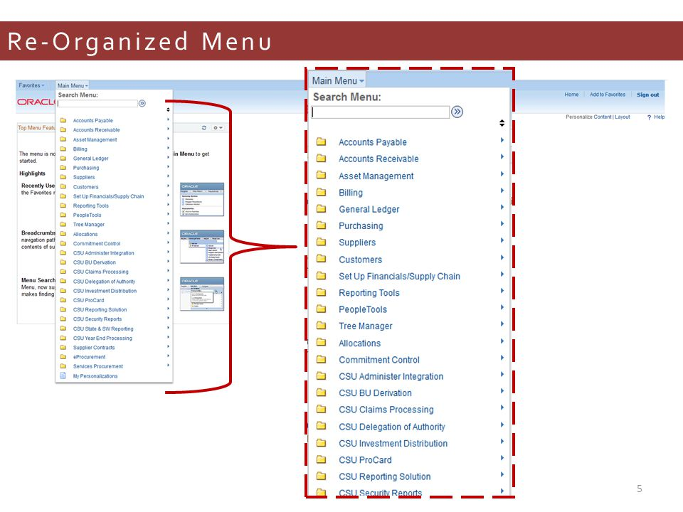 Re-Organized Menu 5