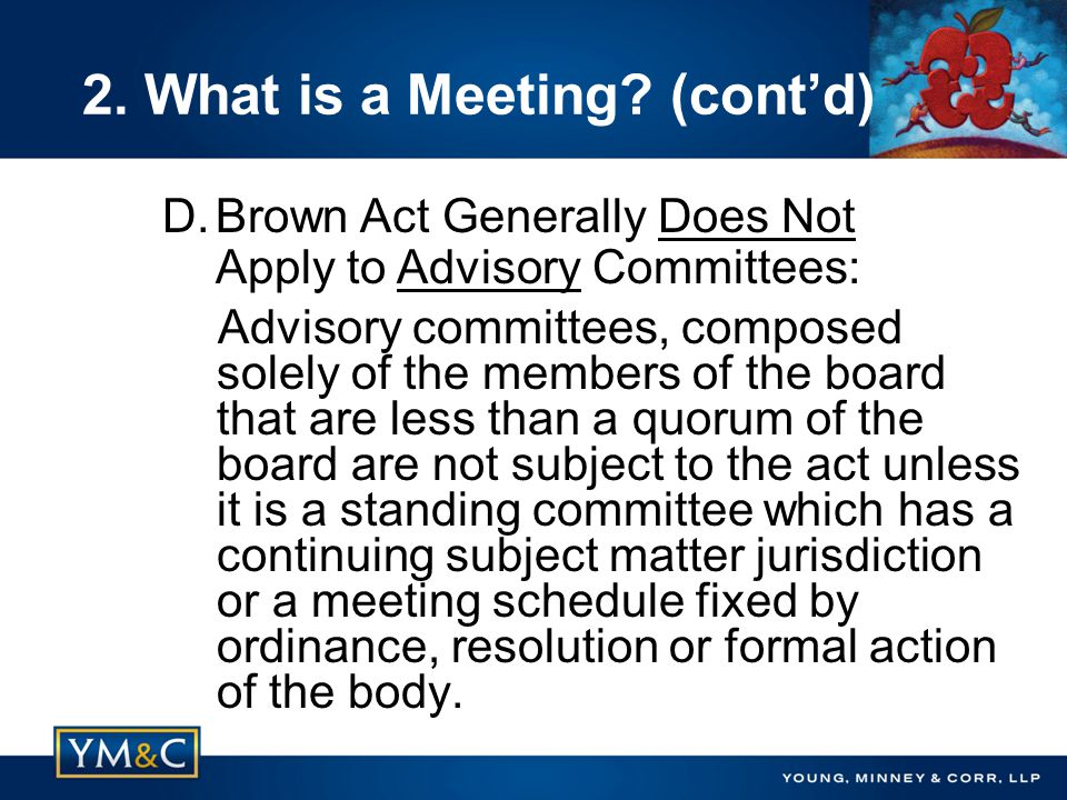 Advisory committees, composed solely of the members of the board that are less than a quorum of the board are not subject to the act unless it is a standing committee which has a continuing subject matter jurisdiction or a meeting schedule fixed by ordinance, resolution or formal action of the body.