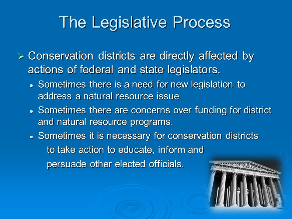 Conservation districts are directly affected by actions of federal and state legislators.