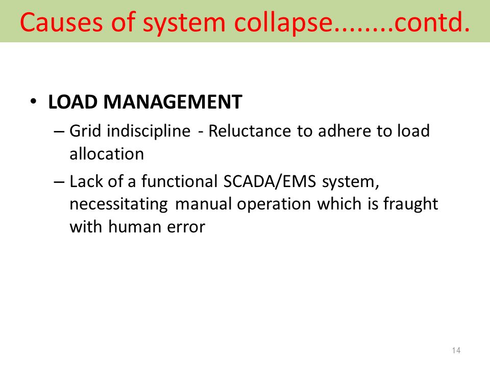 Causes of system collapse........contd.