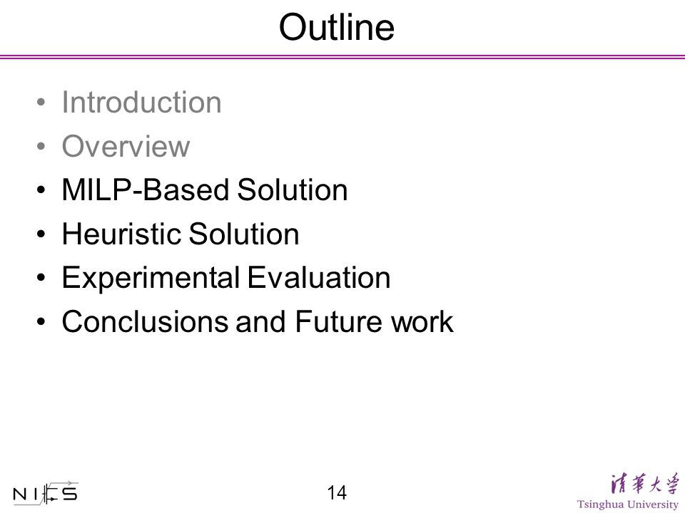 Outline Introduction Overview MILP-Based Solution Heuristic Solution Experimental Evaluation Conclusions and Future work 14