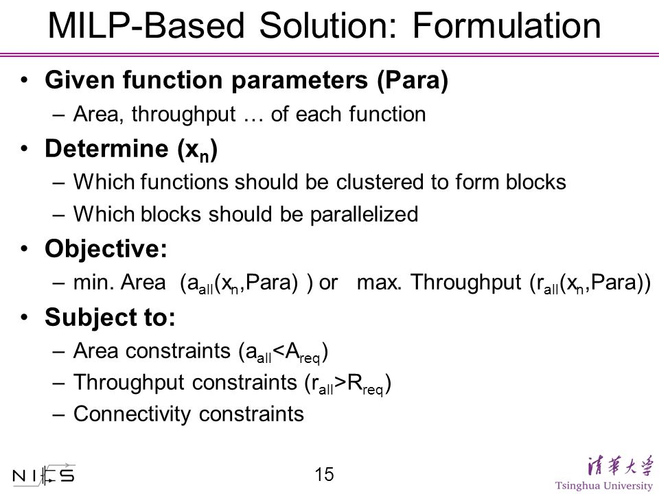 MILP-Based Solution: Formulation Given function parameters (Para) –Area, throughput … of each function Determine (x n ) –Which functions should be clustered to form blocks –Which blocks should be parallelized Objective: –min.