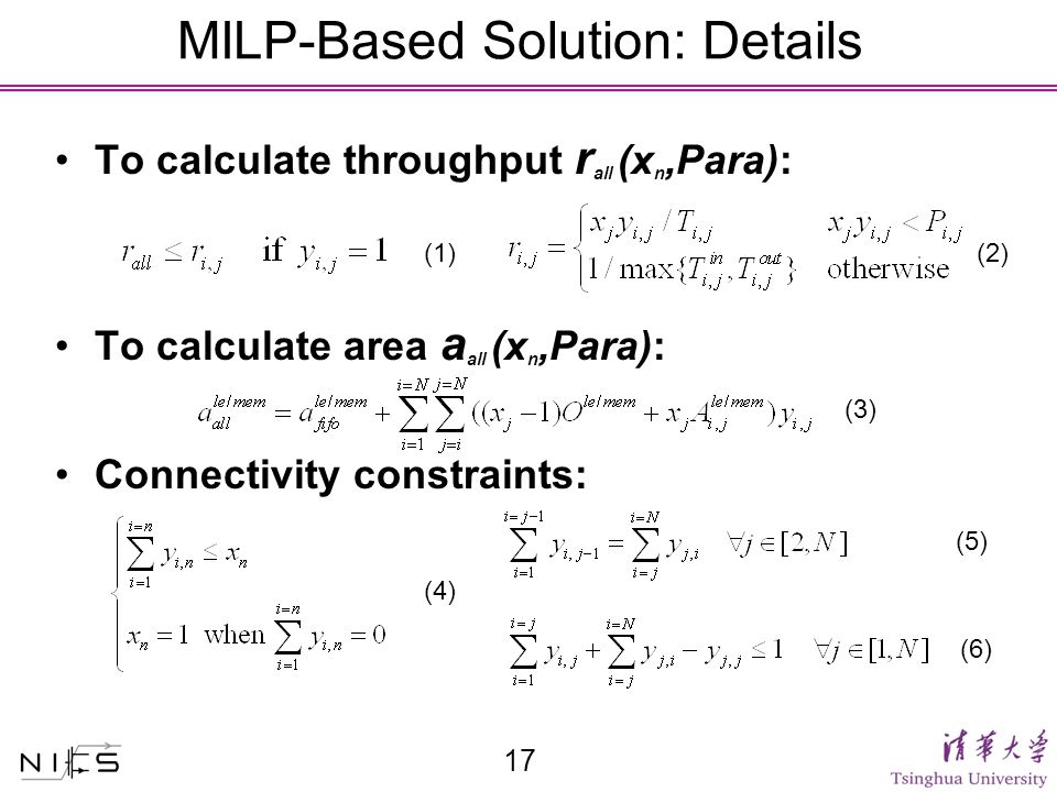 MILP-Based Solution: Details To calculate throughput r all (x n,Para): To calculate area a all (x n,Para): Connectivity constraints: 17 (1) (2) (3) (4) (5)(6)