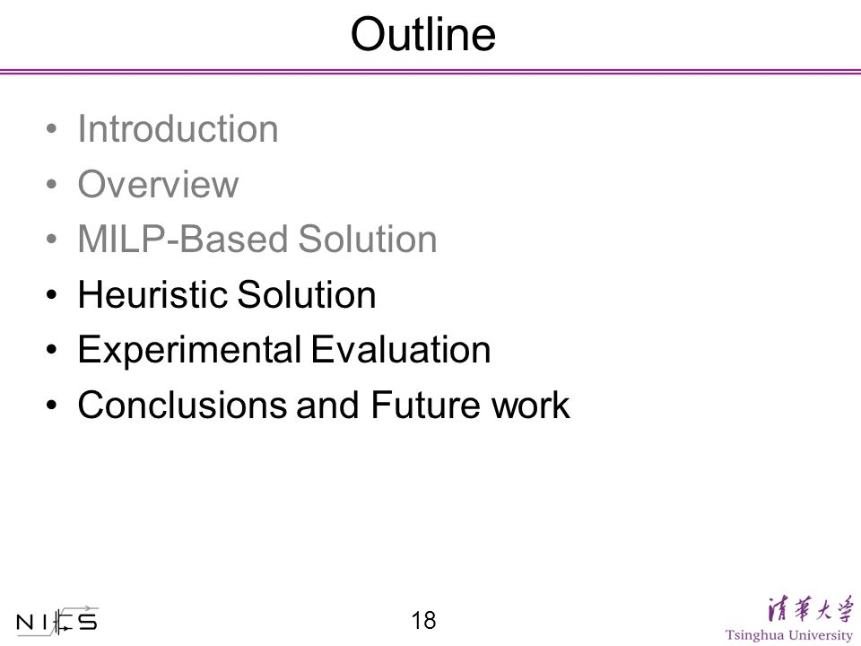 Outline Introduction Overview MILP-Based Solution Heuristic Solution Experimental Evaluation Conclusions and Future work 18