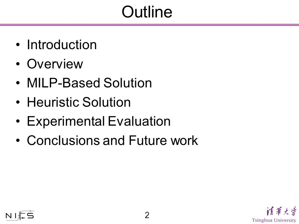 Outline Introduction Overview MILP-Based Solution Heuristic Solution Experimental Evaluation Conclusions and Future work 2
