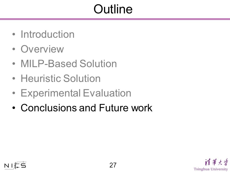 Outline Introduction Overview MILP-Based Solution Heuristic Solution Experimental Evaluation Conclusions and Future work 27