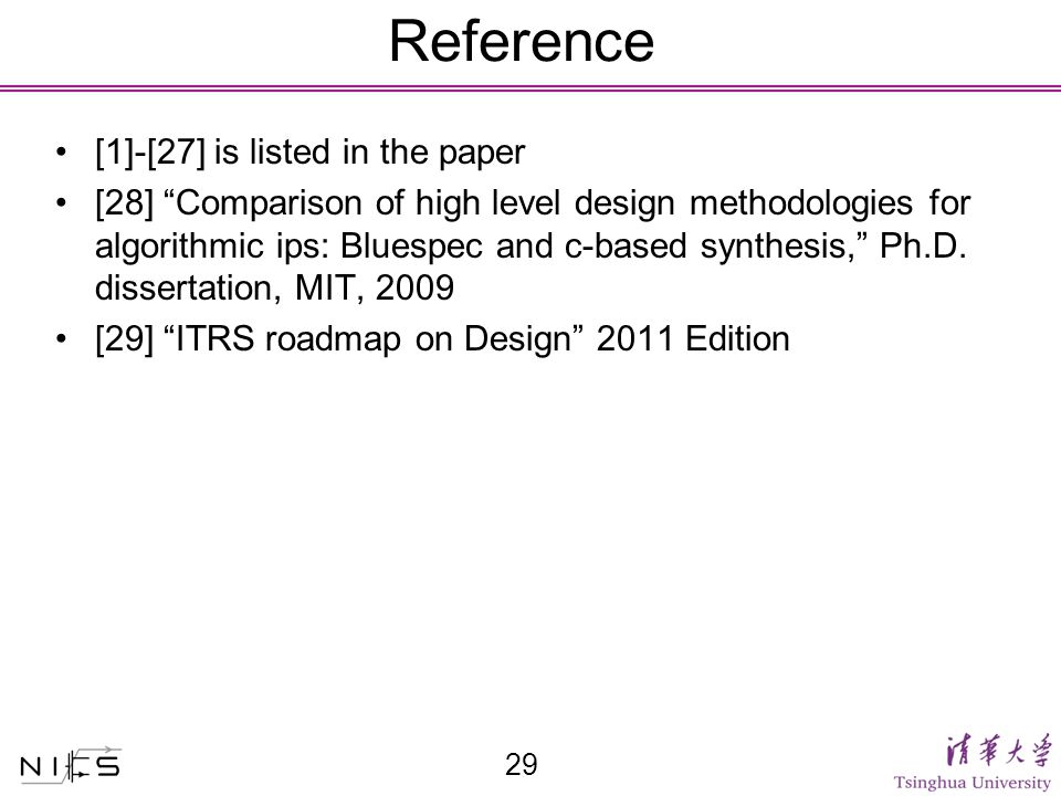 Reference 29 [1]-[27] is listed in the paper [28] Comparison of high level design methodologies for algorithmic ips: Bluespec and c-based synthesis, Ph.D.