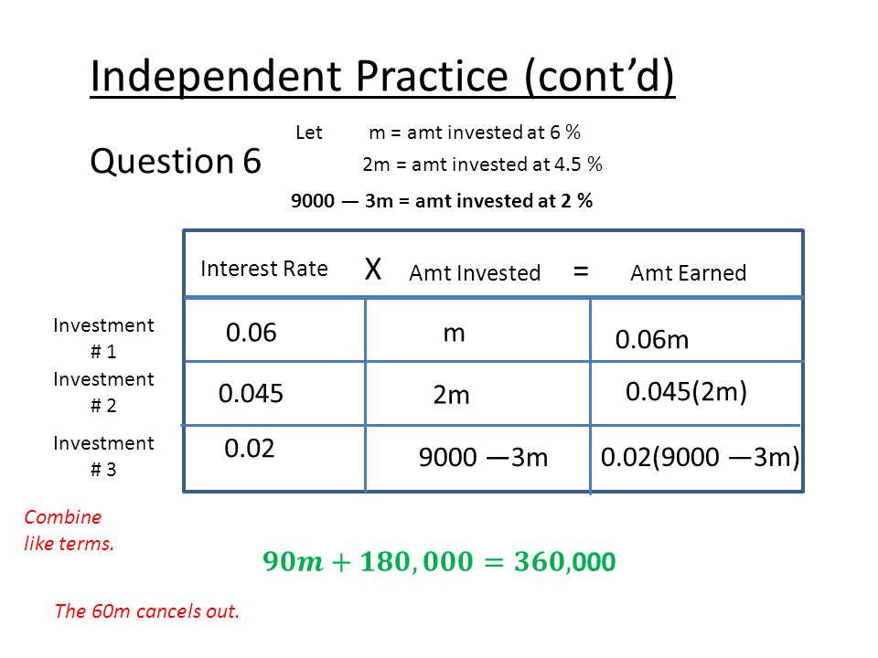 Independent Practice (cont'd) Question 6 Let m = amt invested at 6 % 2m = amt invested at 4.5 % Interest Rate X Amt Earned = Amt Invested Investment # 1 Investment # 2 0.06m 0.06m 0.02 9000 —3m 0.02(9000 —3m) 9000 — 3m = amt invested at 2 % Investment # 3 0.045 2m 0.045(2m) Combine like terms.