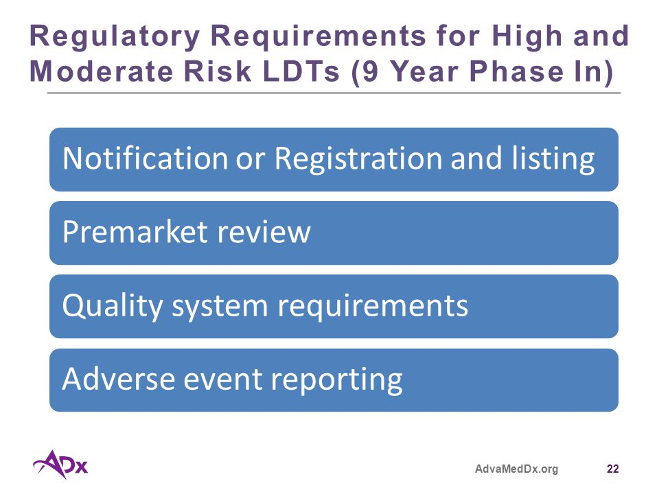AdvaMedDx.org22 Regulatory Requirements for High and Moderate Risk LDTs (9 Year Phase In) Notification or Registration and listingPremarket reviewQuality system requirementsAdverse event reporting