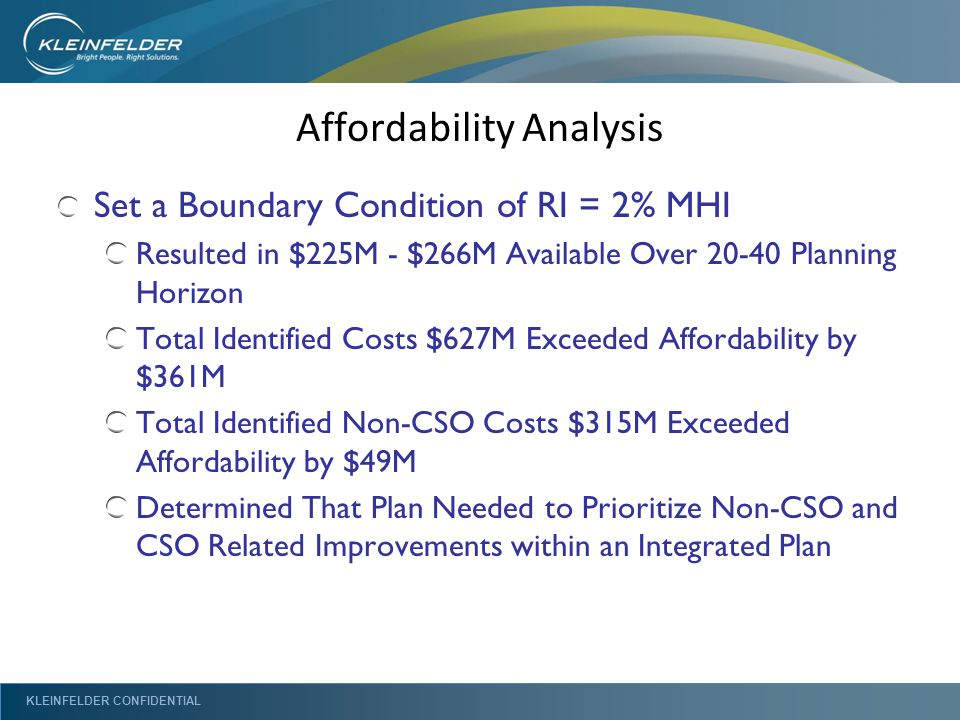 KLEINFELDER CONFIDENTIAL Affordability Analysis Set a Boundary Condition of RI = 2% MHI Resulted in $225M - $266M Available Over 20-40 Planning Horizon Total Identified Costs $627M Exceeded Affordability by $361M Total Identified Non-CSO Costs $315M Exceeded Affordability by $49M Determined That Plan Needed to Prioritize Non-CSO and CSO Related Improvements within an Integrated Plan