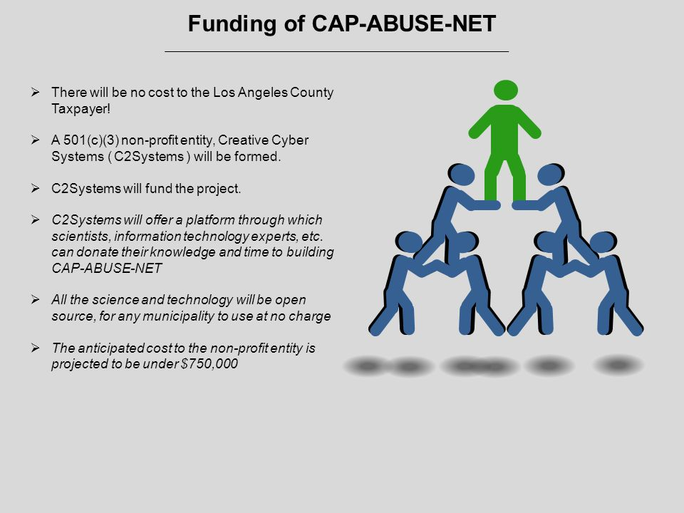 Funding of CAP-ABUSE-NET  There will be no cost to the Los Angeles County Taxpayer.