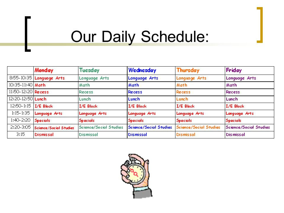 Our Daily Schedule:
