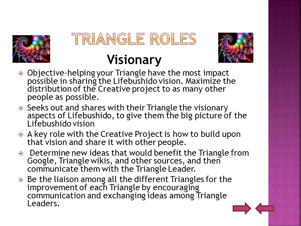 Visionary  Objective-helping your Triangle have the most impact possible in sharing the Lifebushido vision.
