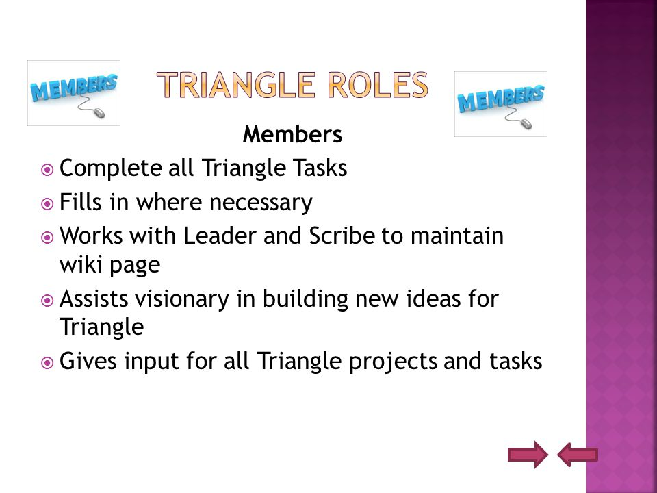 Members  Complete all Triangle Tasks  Fills in where necessary  Works with Leader and Scribe to maintain wiki page  Assists visionary in building new ideas for Triangle  Gives input for all Triangle projects and tasks